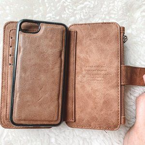 Simple Luxury | iPhone 8 Brown Leather Wallet/Case